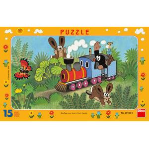 Dino Puzzle Krteček a lokomotiva 15 dílků