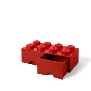 LEGO úložný box 8 s šuplíky - červená