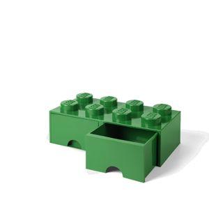 LEGO úložný box 8 s šuplíky - tmavě zelená