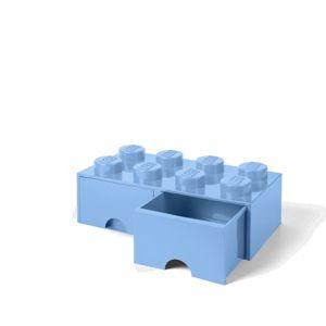 LEGO úložný box 8 s šuplíky - světle modrá
