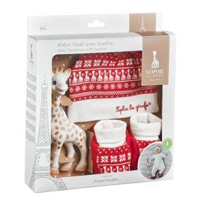 Vulli Můj vánoční dárkový set Sophie (žirafa, capáčky a čepice)