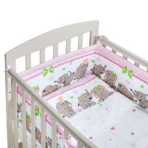 New Baby-3-dílné ložní povlečení New Baby 90/120 cm růžové se sloníky