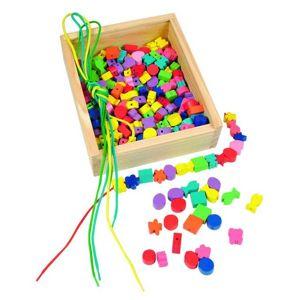 Woody Dřevěná krabička Navlékací perle (200 perlí)
