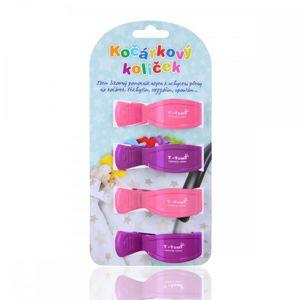 T-TOMI Kočárkový kolíček, 2x pink + 2x lilac / 2x růžová + 2x fialová