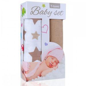 T-TOMI BIO Bambusová osuška beige stars / béžové hvězdičky + Bambusová osuška beige / béžová