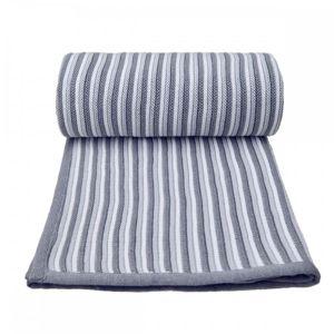 T-TOMI Pletená deka spring, white-grey / bílo-šedá